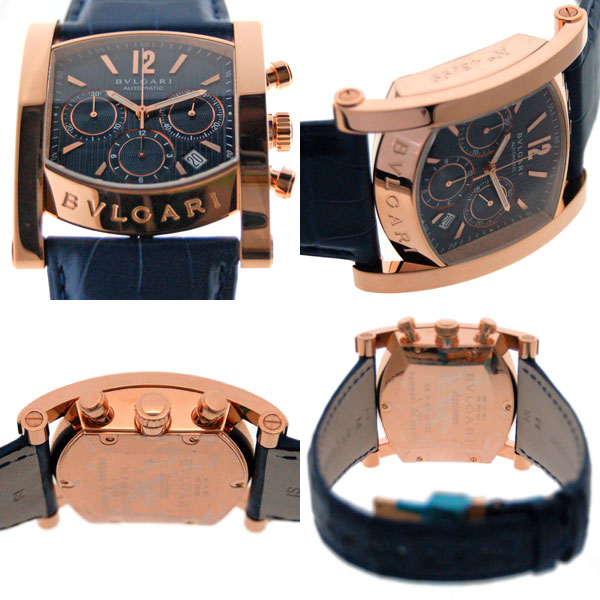 watch f9592 c45be ブルガリ BVLGARI アショーマクロノグラフ AAP48C3GLDCH ピンクゴールド ブルー 世界99本限定 新品